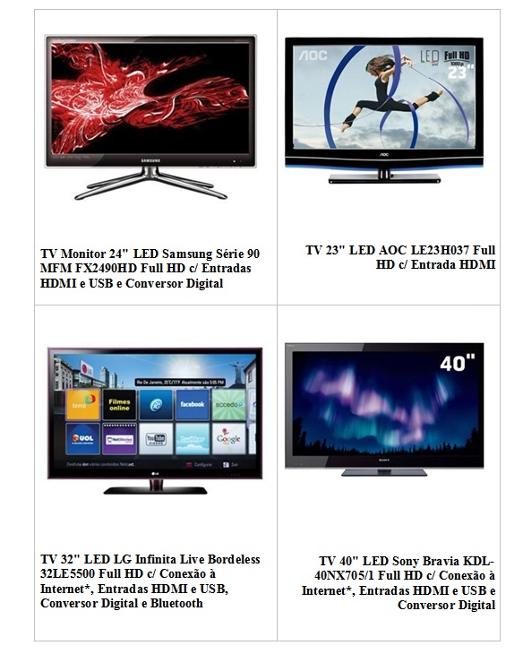TV LED 40 full HD HDMI Promoção de TV LED   Onde Comprar TV LED 42, 47, 55 Polegadas