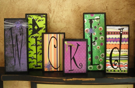 Wicked wood blocks with paper and vinyl