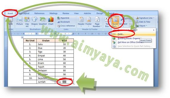 Gambar: Cara menampilkan dialog field untuk melakukan penjumlahan cell tabel di Microsoft Word