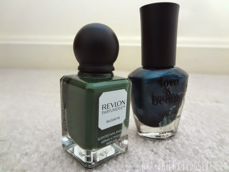 Navy teal nail polish from Love & Beauty Forever 21, Balsam Fir Parfumerie from Revlon