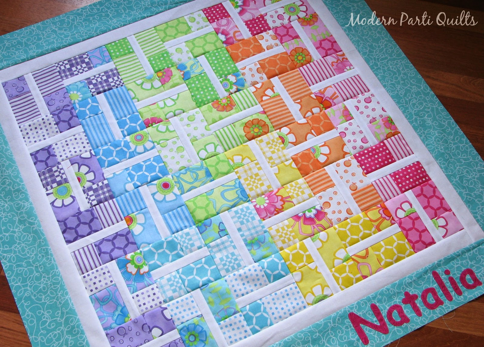 Modern Parti Quilts Rainbow Baby Quilt Top
