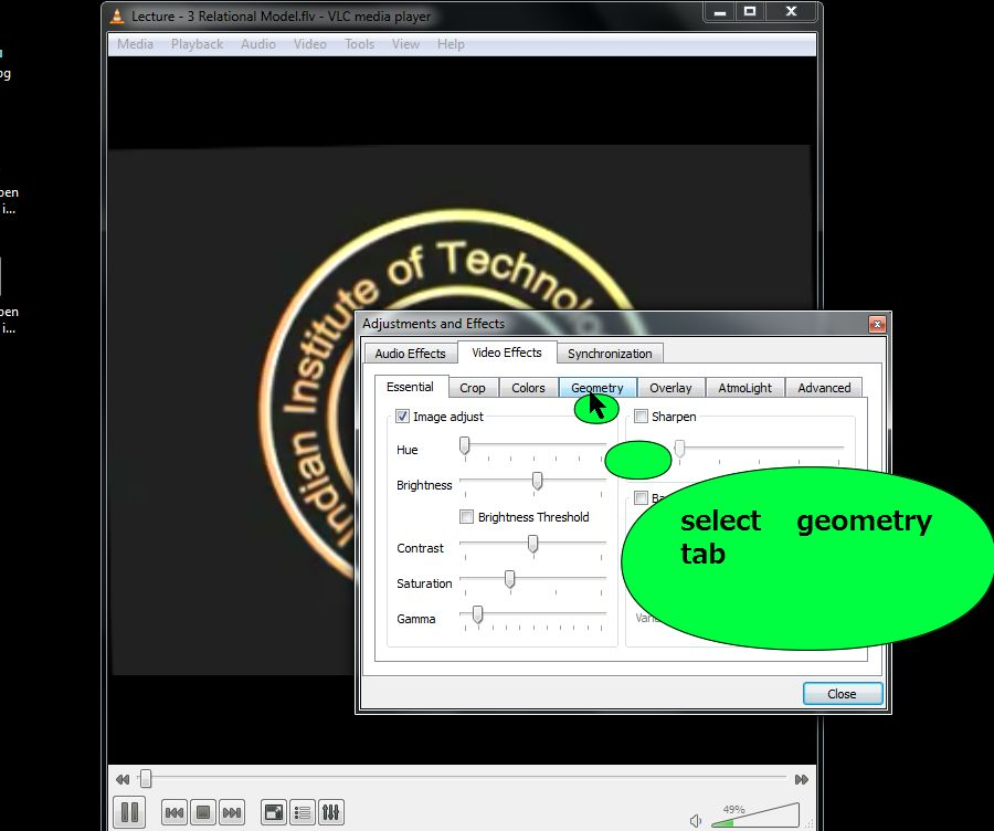 Steps to rotate video screen in vlc media player steps for daily select the geometry tab from the video tab ccuart Images