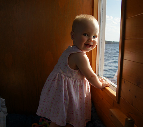 Our young girl loved watching the lake go by from the window.