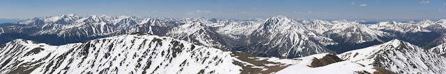 Views from the top of Mount Elbert looking south with La Plata Peak and the Sawatch Range in June