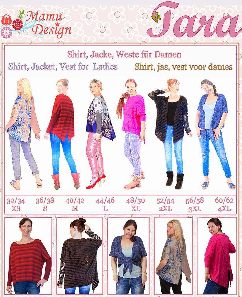 Mamu Design: NEW!!! TARA, Damen-Schnittmuster für Maxi-Shirt, Jacke ...