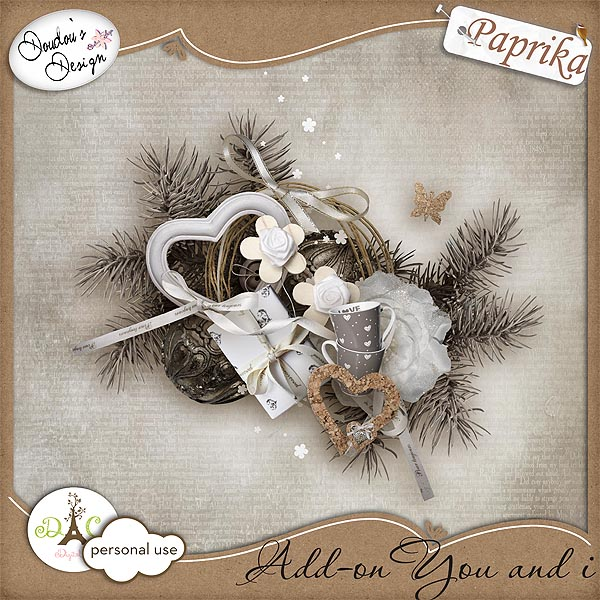 "Free scrapbook mini kit ""You and I"" from Doudouscrap"