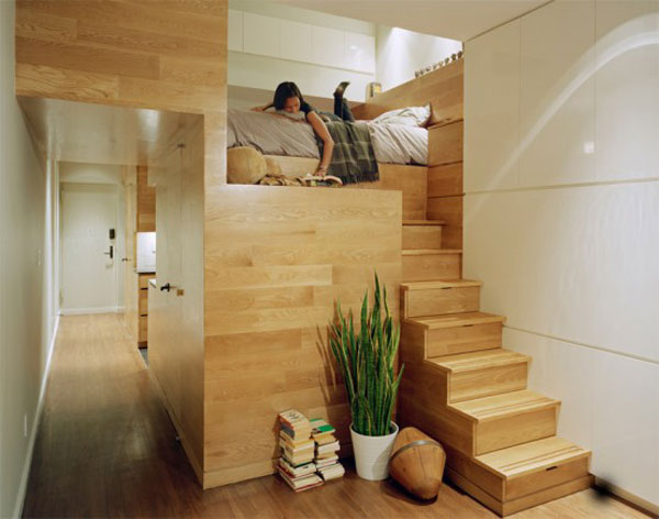 design solutions for small spaces, minimalist design, modern design, custom interiors, loft bed, loft, loft design, small spaces, tiny spaces, custom interiors, wood interiors, storage stairs, storage solutions small spaces