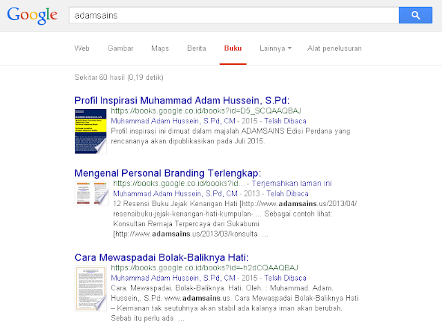 Buku Terbitan Adamssein Media di Google Buku