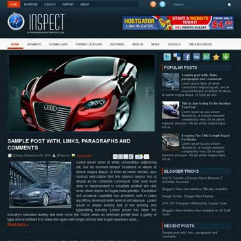 Inspect blogger template. free blogspot template magazine style