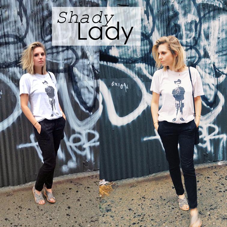 Casual t-shirt and black pants, brocade ankle pants, Zara zebra print pony hair sandals, Marc Jacobs tee, graffiti wall, Brooklyn New York, street style, shady lady