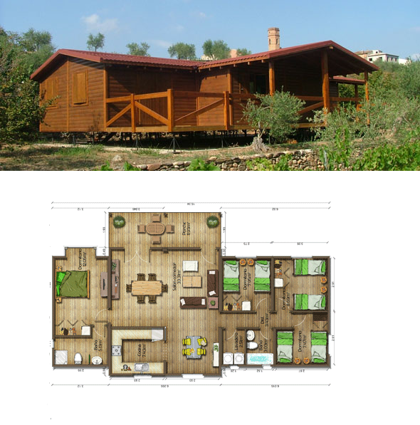 Casas de madera en espa a plano casa madera 112 m2 - Casas prefabricadas de madera espana ...
