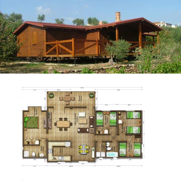 Casas de madera en espa a plano casa madera 112 m2 - Planos casa de madera ...
