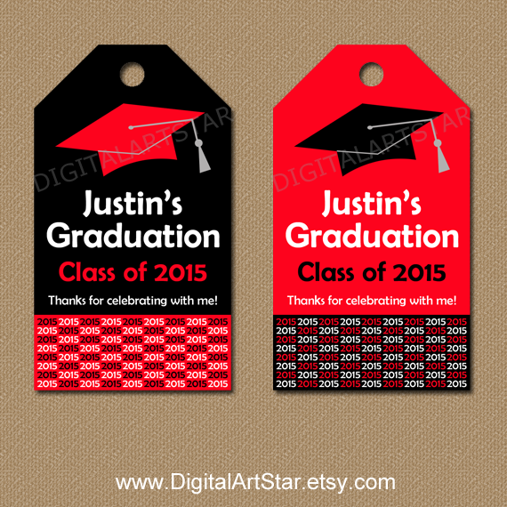 personalized graduation printable hang tags in red and black