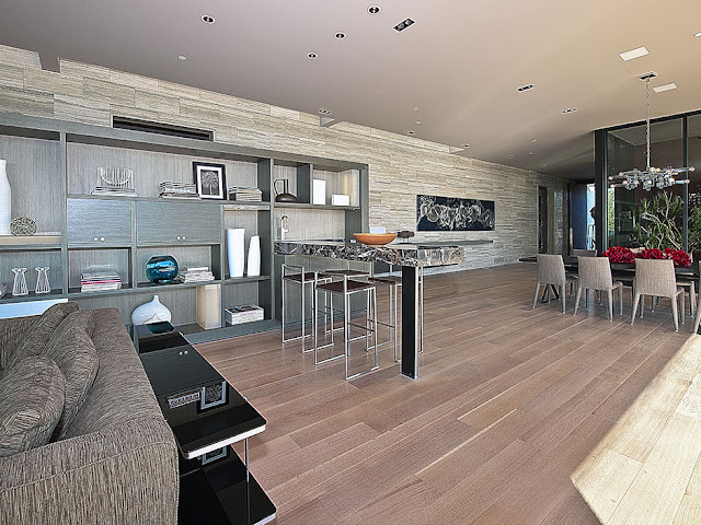 Photo of modern brown interiors in the luxury modern house in Hollywood