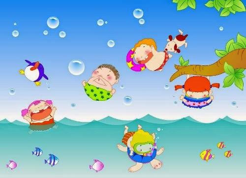 Gambar Berenang Kartun Lucu Anak Kecil di Kolam Swim Cartoon Pictures