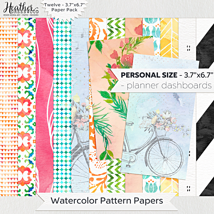 Watercolor Pattern Digital Papers | FiloFax Personal Planner Sized digital papers by Heather Greenwood Designs