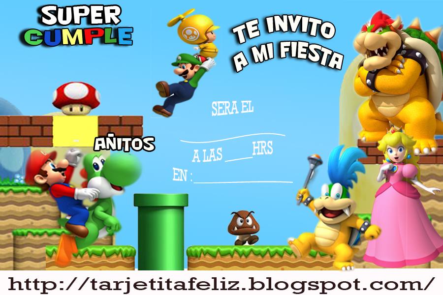 Tarjetas de cumpleaños para imprimir: Invitacion de Super Mario Bross