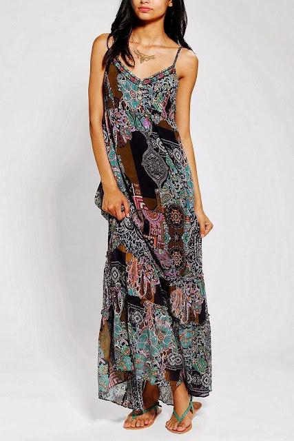 Band Of Gypsies Scarf-Print Chiffon Maxi Dress