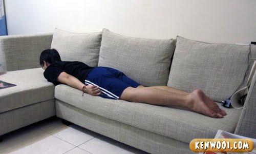 planking on sofa