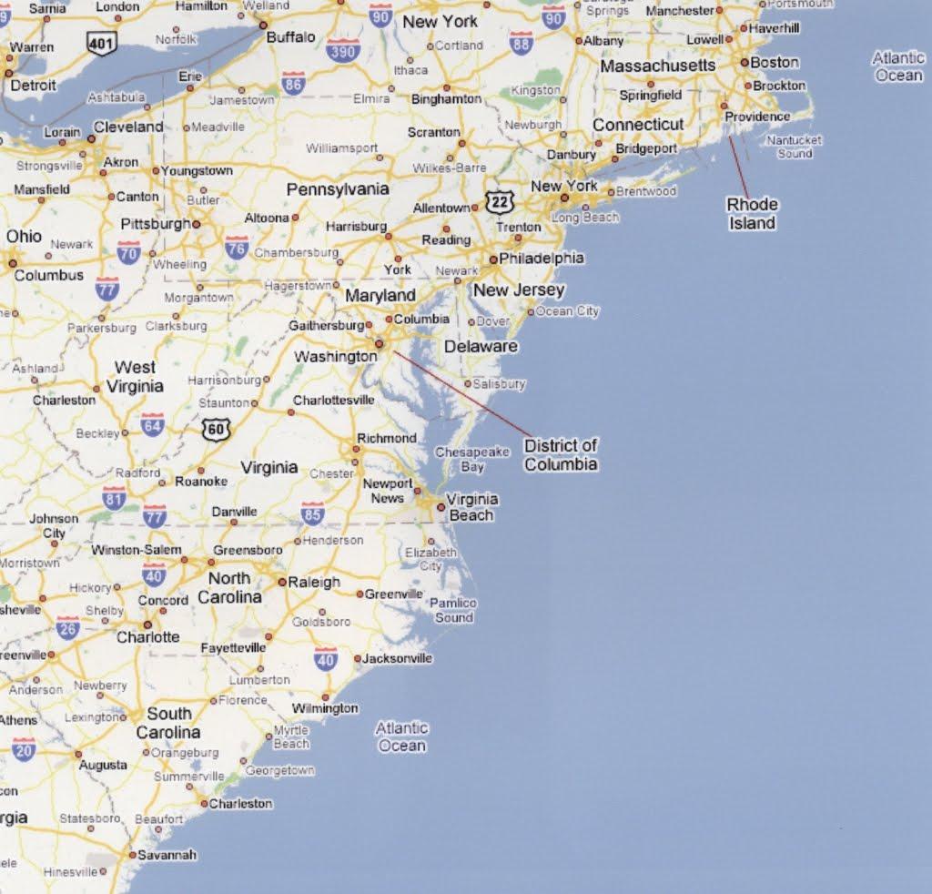 Map Us East Coast Major Cities Maps Of USA East Coast Cities Map