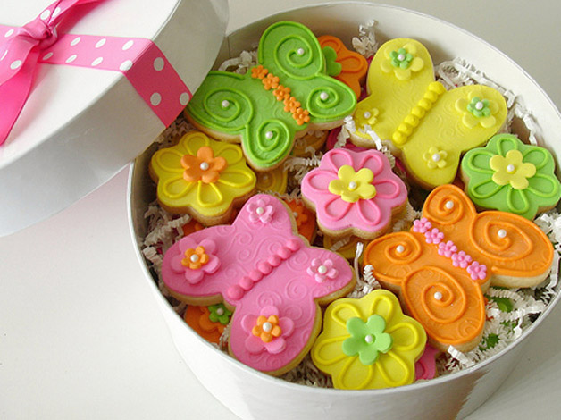 biscoito biscoitinho decorado borboleta flor flores caixa presente