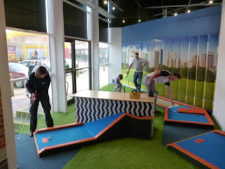 Photo of Great Britain Minigolf Team players at the Krazy Golf Minigolf course at Quest Merry Hill