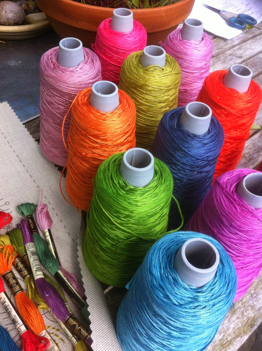 Thread colours all ready to be wound off for the New Cushion Kits