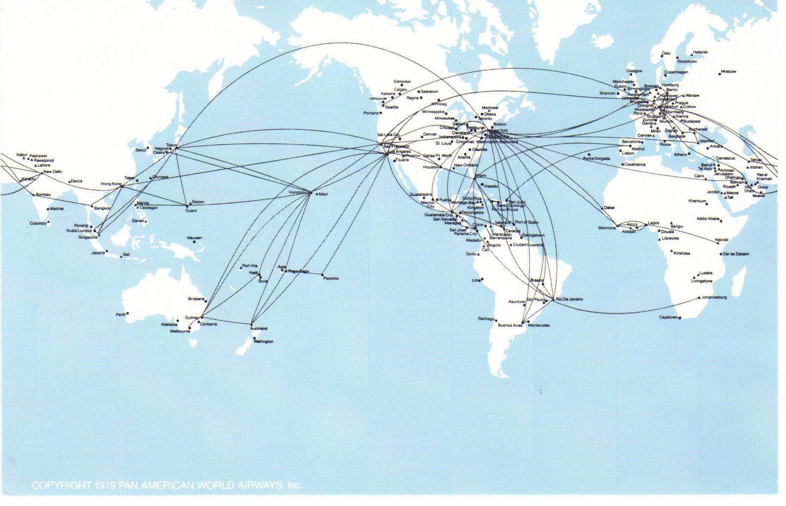 Airlines past present pan am route map postcard 1970s pan am route map postcard 1970s publicscrutiny