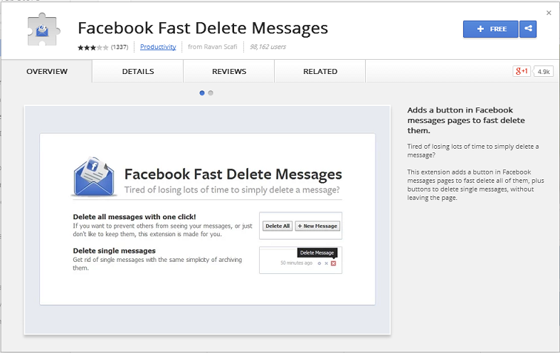 facebook fast messages  delete chrome extension