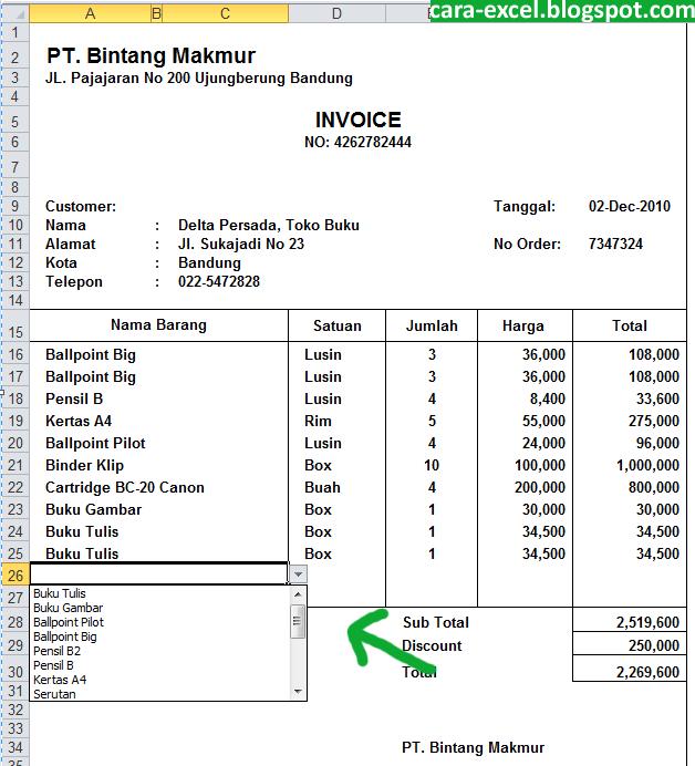 Contoh Invoice Penagihan Kontraktor