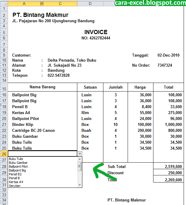 Contoh Invoice Excel Download Tips Excel | newhairstylesformen2014.com