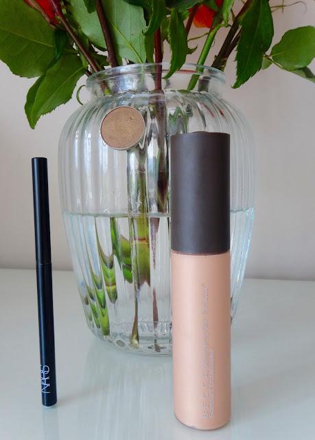 Becca Shimmering Skin Perfector in Opal, Nars Kohliner, Makeupgeek eyeshadow pretentious