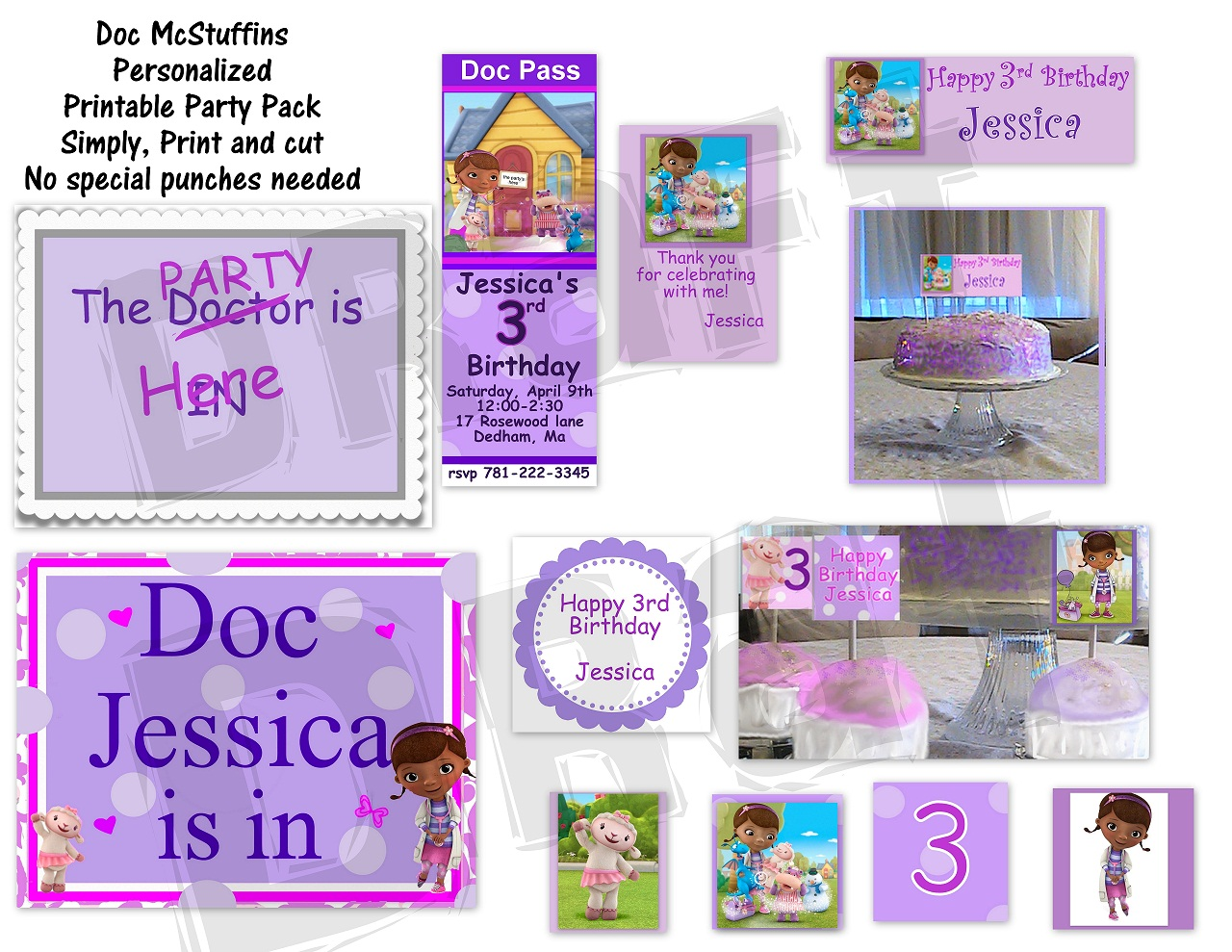 This is a graphic of Bright Doc Mcstuffins Party Printables
