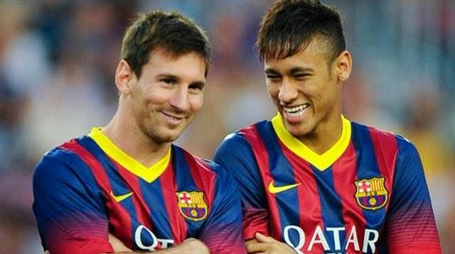 Messi y Neymar con la camiseta del FC Barcelona
