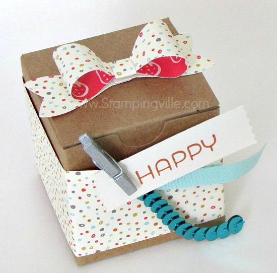 Decorated Tiny Treat Box with mini paper bow.