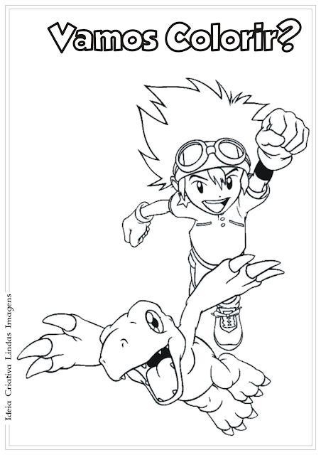Tai e Agumon Digimon desenho para colorir