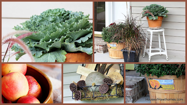 Fall front porch decorating ideas including a HUGE pumpkin - from houseofhawthornes.com