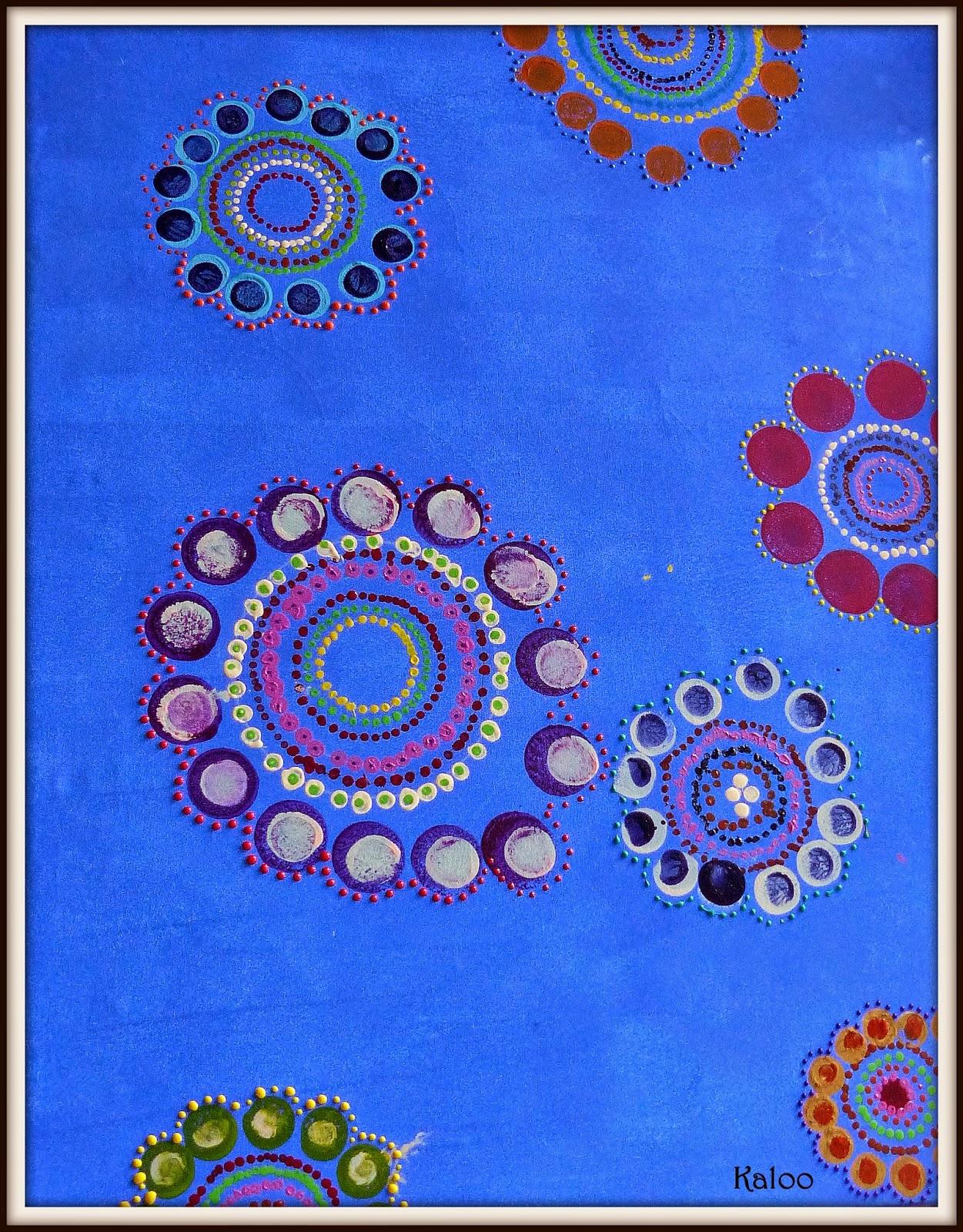 Fleurs en peinture comme les aborigènes en MS