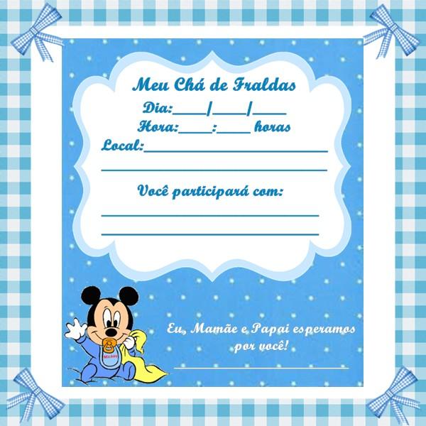 Convite Ch   De Fraldas   Tema Baby Disney