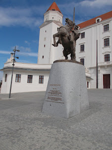 Equestrian statue of King Svatopluk I in Courtyard of entrance to castle.