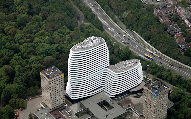 Picture of an office building as seen from the air
