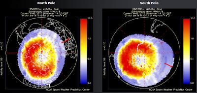 condicion de auroras polo Norte y Sur, 14 de Noviembre 2012