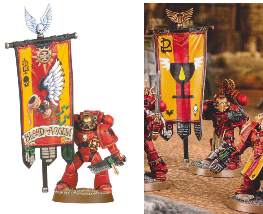 Above you can see the 5th Edition Codex banner version on the left. A brilliant freehand which we should all aspire to and be able to compare with any Gold ...