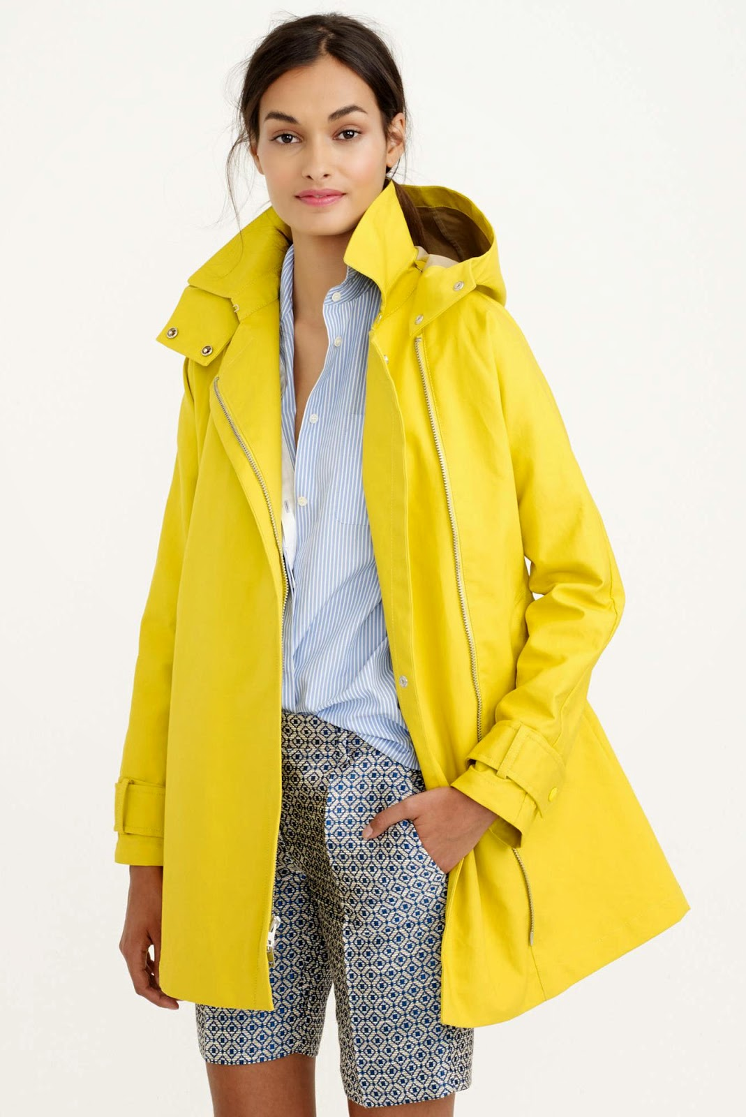 j crew swing trench yellow spring coat