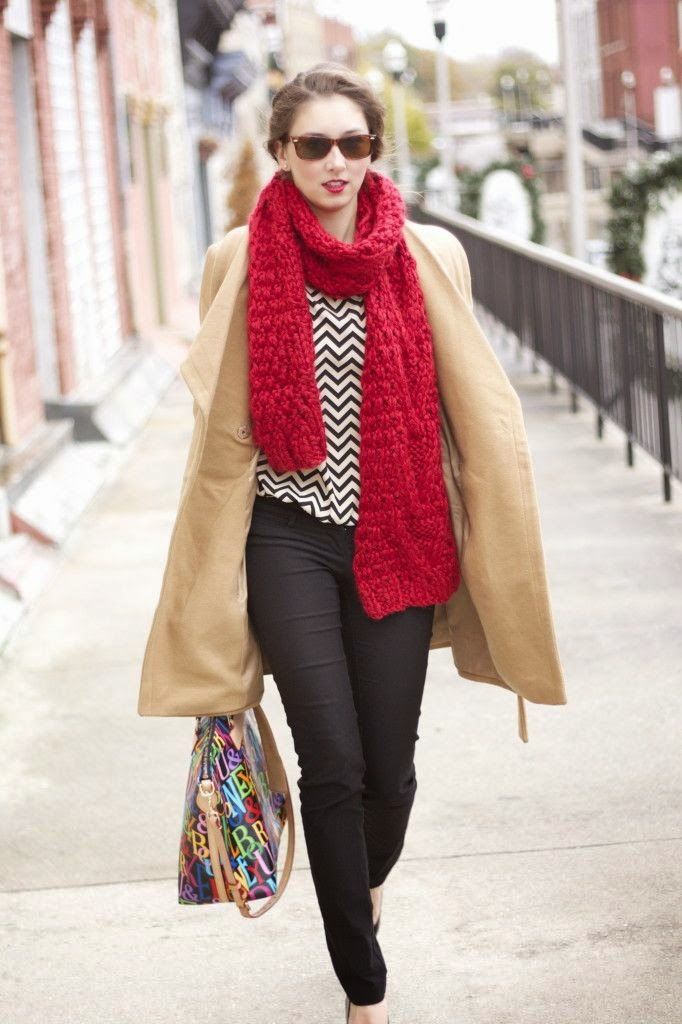 A colorful, oversized scarf add a gorgeous pop of color.