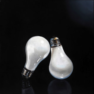 realistic light bulb painting by jeanne vadeboncoeur