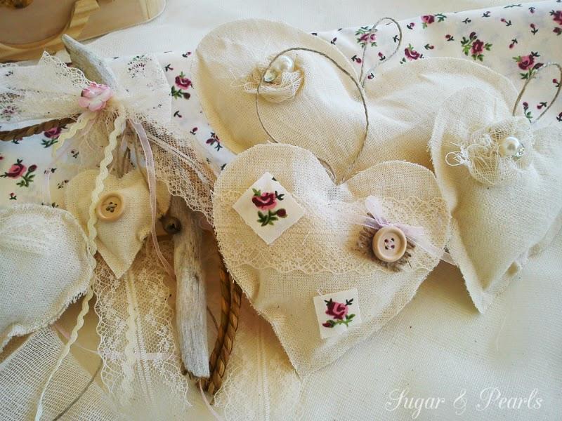 Υφασμάτινες ρομαντικές μπομπονιέρες-Sweet hearts