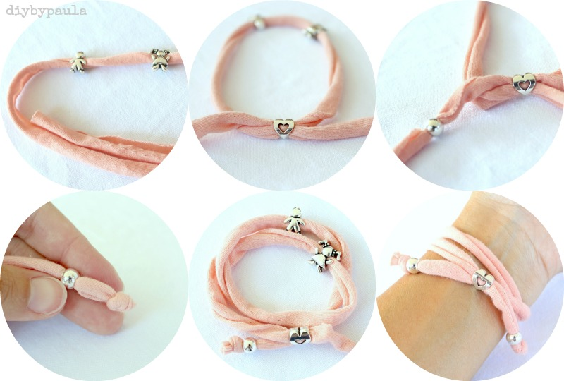 Diy by paula pulseras de trapillo con abalorios for Tutoriales de trapillo