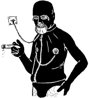 Sigmund Freud Illustration. Freud in a gimp suit