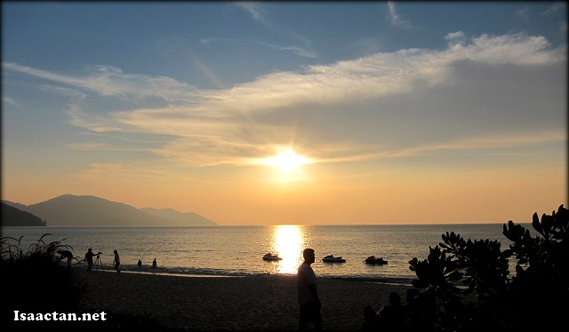 Beautiful sunset seen from the beaches of Hard Rock Hotel Penang